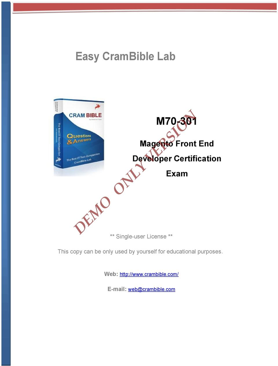 Demo Only Version Easy Crambible Lab M Magento Front End Developer
