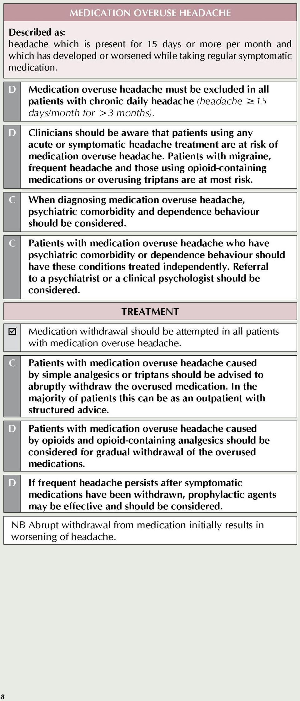 linicians should be aware that patients using any acute or symptomatic headache treatment are at risk of medication overuse headache.