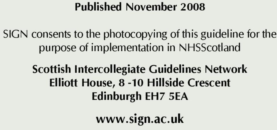 NHSScotland Scottish Intercollegiate Guidelines Network