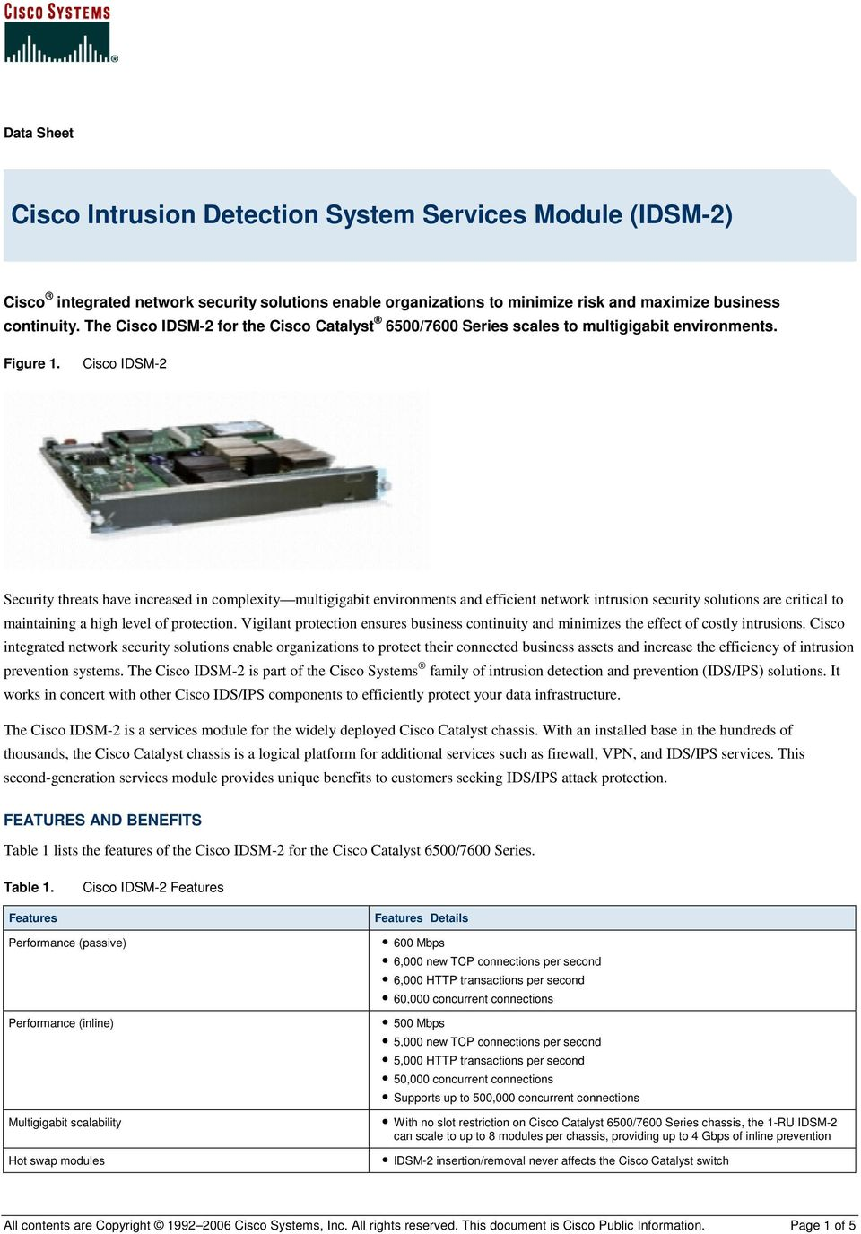 Cisco IDSM-2 Security threats have increased in complexity multigigabit environments and efficient network intrusion security solutions are critical to maintaining a high level of protection.