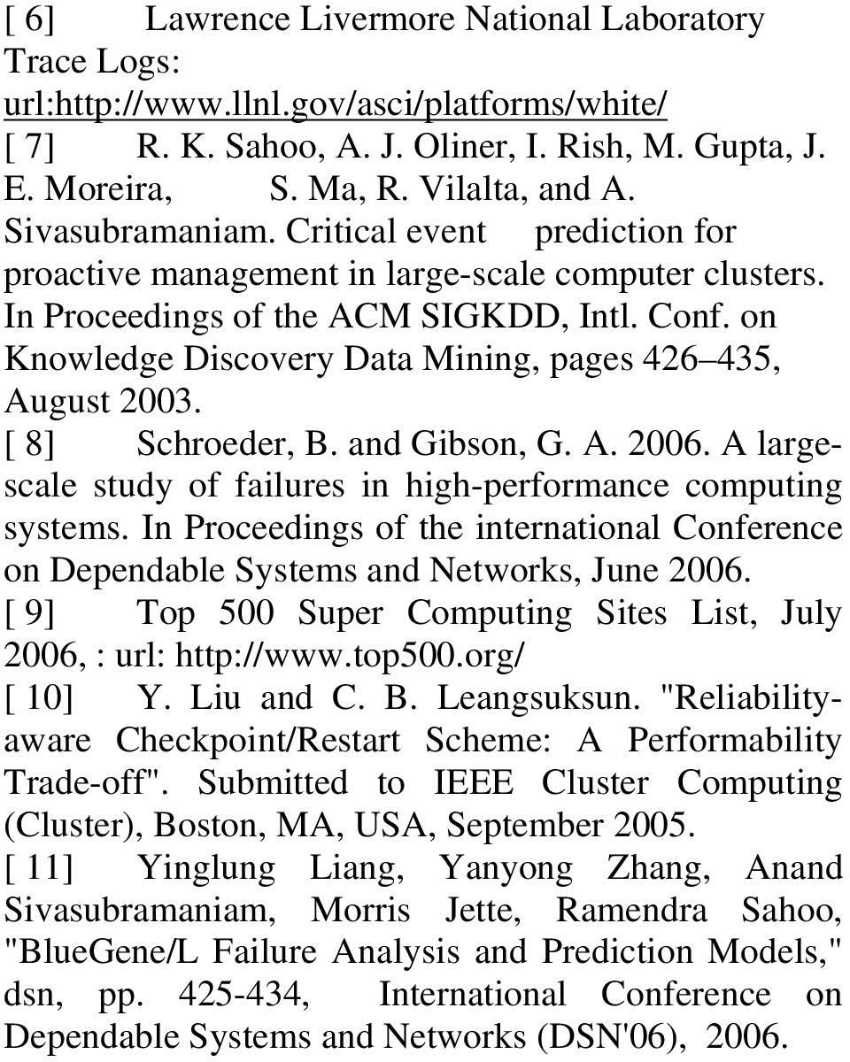 [ 8] Schroeder, B. ad Gibso, G. A. 2006. A largescale study of failures i high-performace computig systems. I Proceedigs of the iteratioal Coferece o Depedable Systems ad Networks, Jue 2006.
