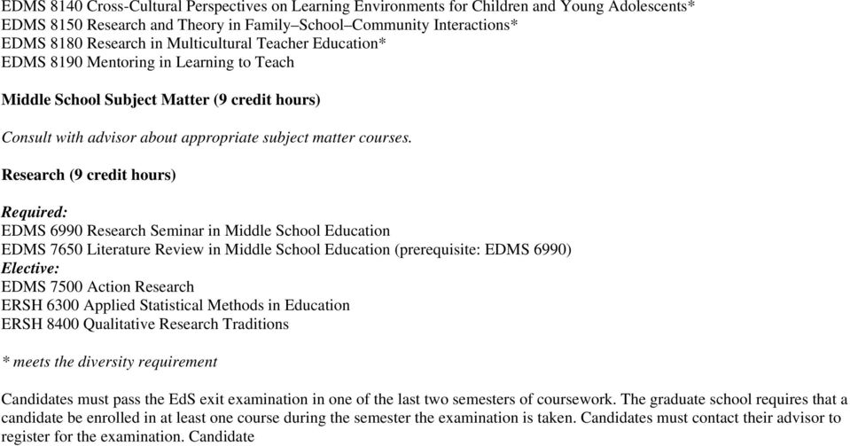 Research (9 credit hours) Required: EDMS 6990 Research Seminar in Middle School Education EDMS 7650 Literature Review in Middle School Education (prerequisite: EDMS 6990) Elective: EDMS 7500 Action