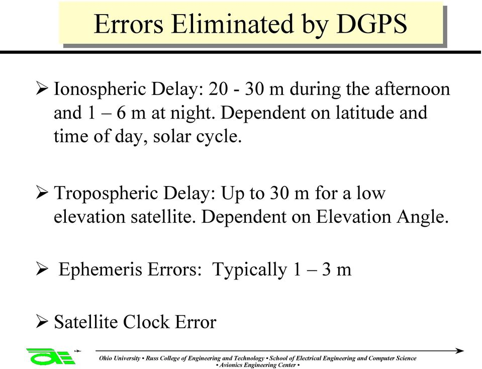 Tropospheric Delay: Up to 30 m for a low elevation satellite.
