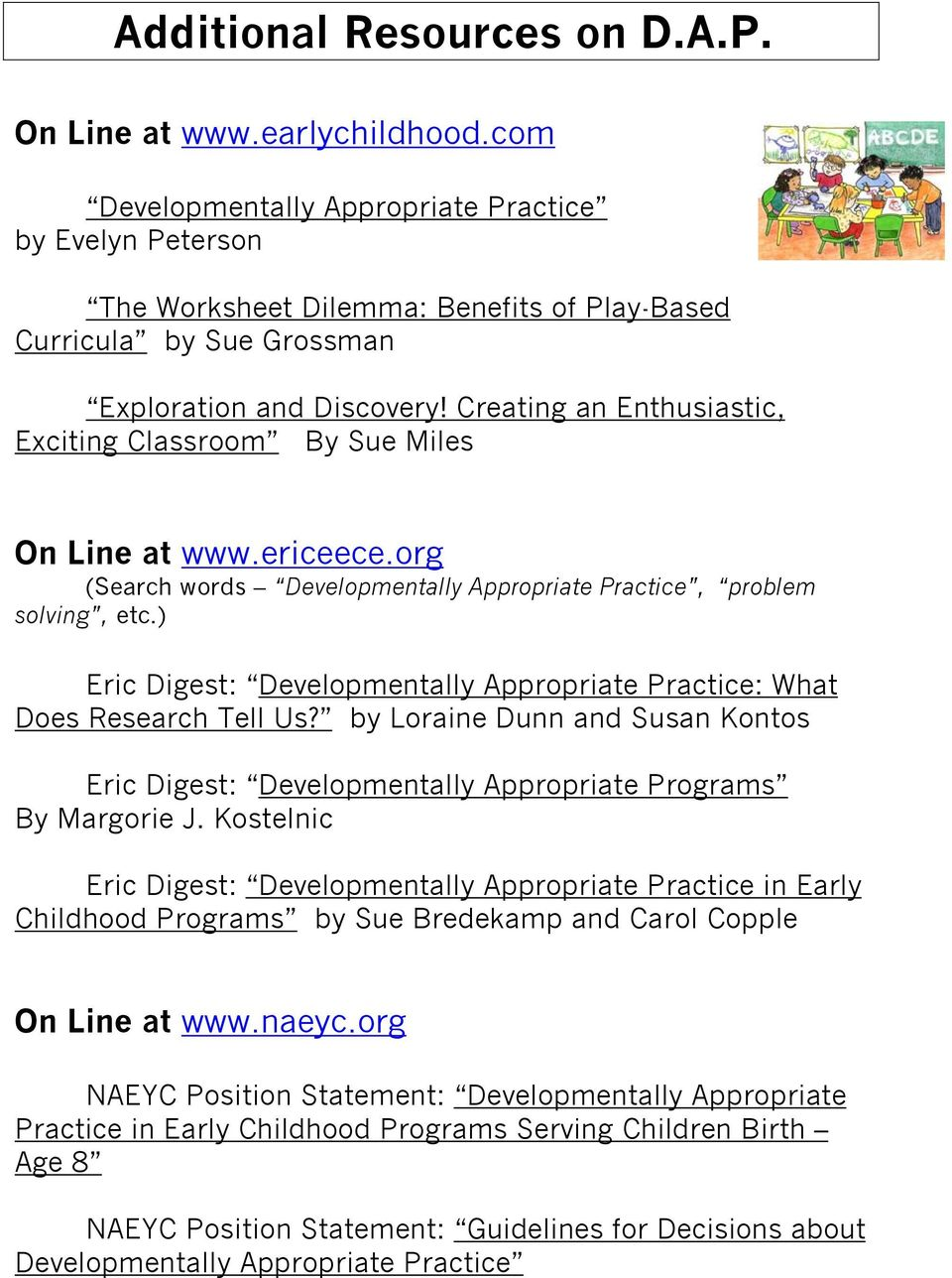 Developmentally Appropriate Practices with Young Children - PDF