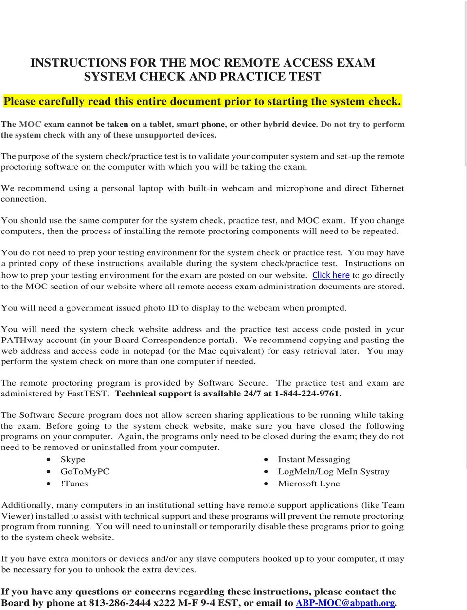 INSTRUCTIONS FOR THE MOC REMOTE ACCESS EXAM SYSTEM CHECK AND