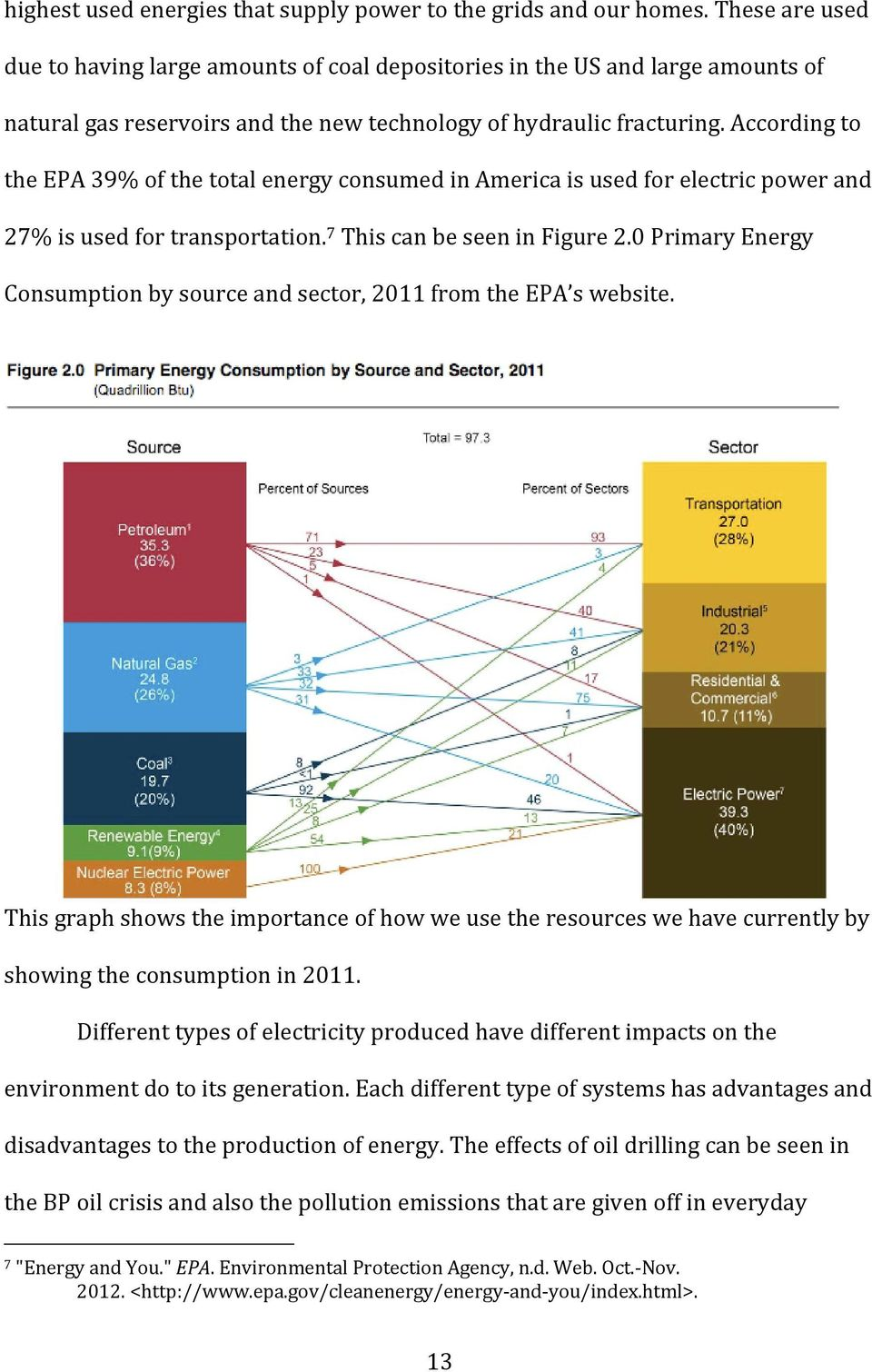 According to the EPA 39% of the total energy consumed in America is used for electric power and 27% is used for transportation. 7 This can be seen in Figure 2.