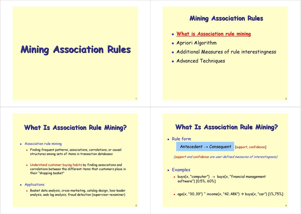 Mining Association Rules  Mining Association Rules  What Is