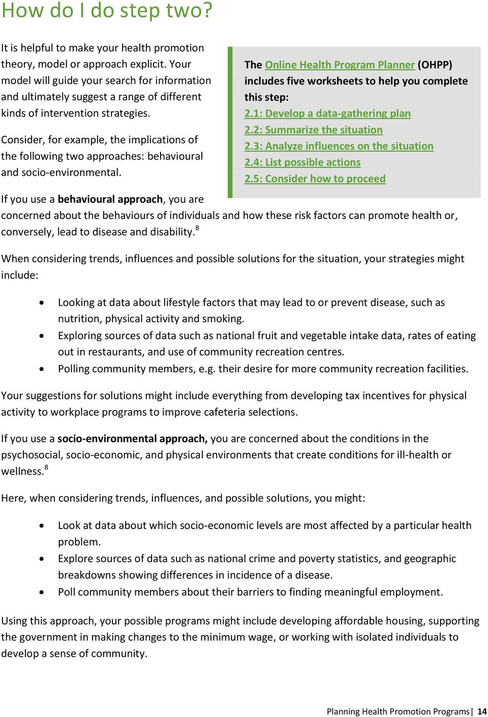 Planning health promotion programs: introductory workbook - PDF