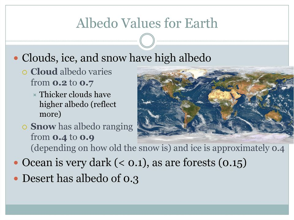 7 Thicker clouds have higher albedo (reflect more) Snow has albedo ranging from 0.