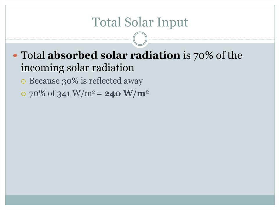 incoming solar radiation Because 30%