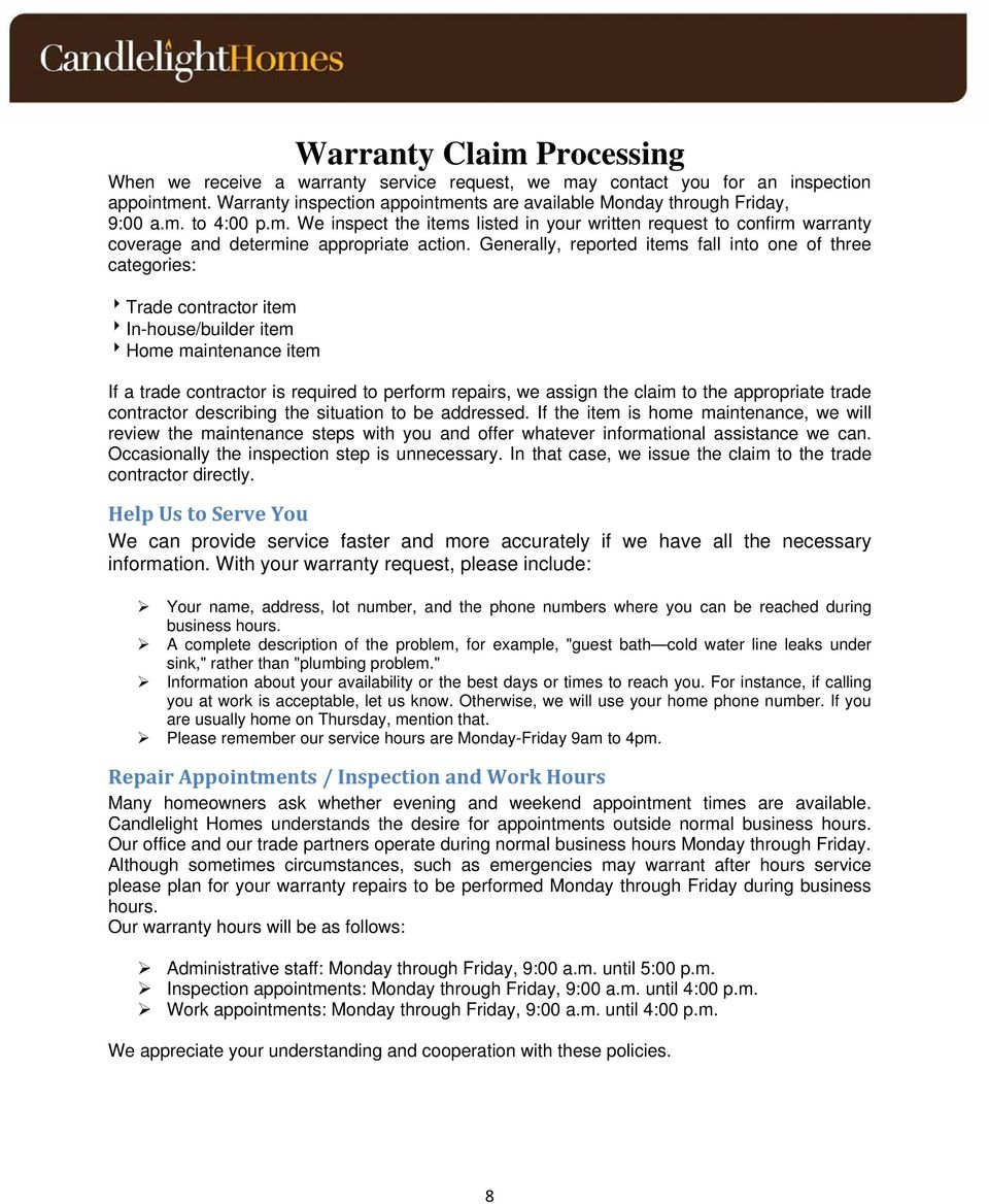 Homeowner S Manual Warranty Service Summary Table Of Contents Pdf Whether You Are A Or Builder Planning Generally Reported Items Fall Into One Three Categories Trade Contractor Item In 9 Construction Standards While We