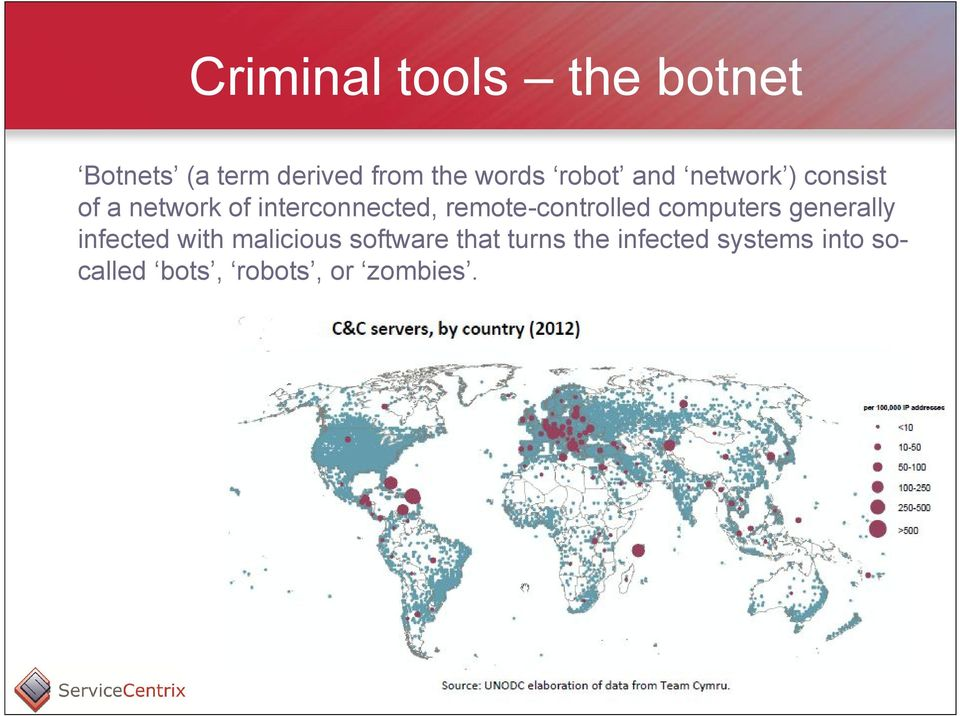 remote-controlled computers generally infected with malicious