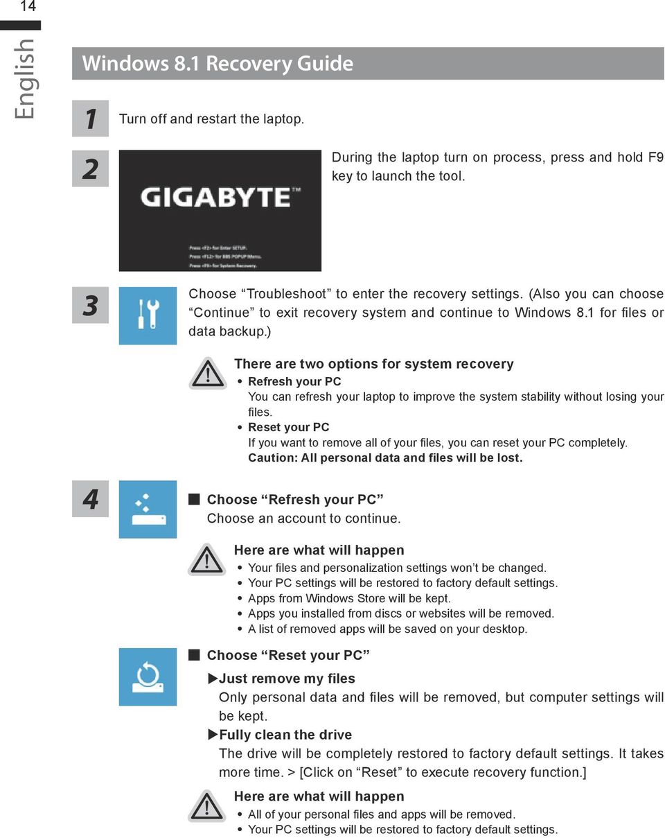 Using GIGABYTE Notebook for the First Time - PDF