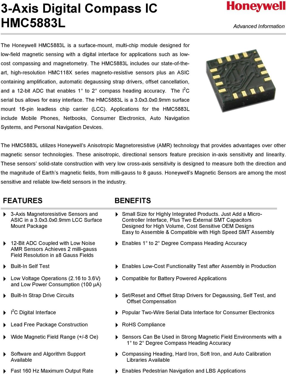 3 Axis Digital Compass Ic Hmc5883l Pdf Circuit The Includes Our State Of Theart High Resolution Hmc118x Series Magneto