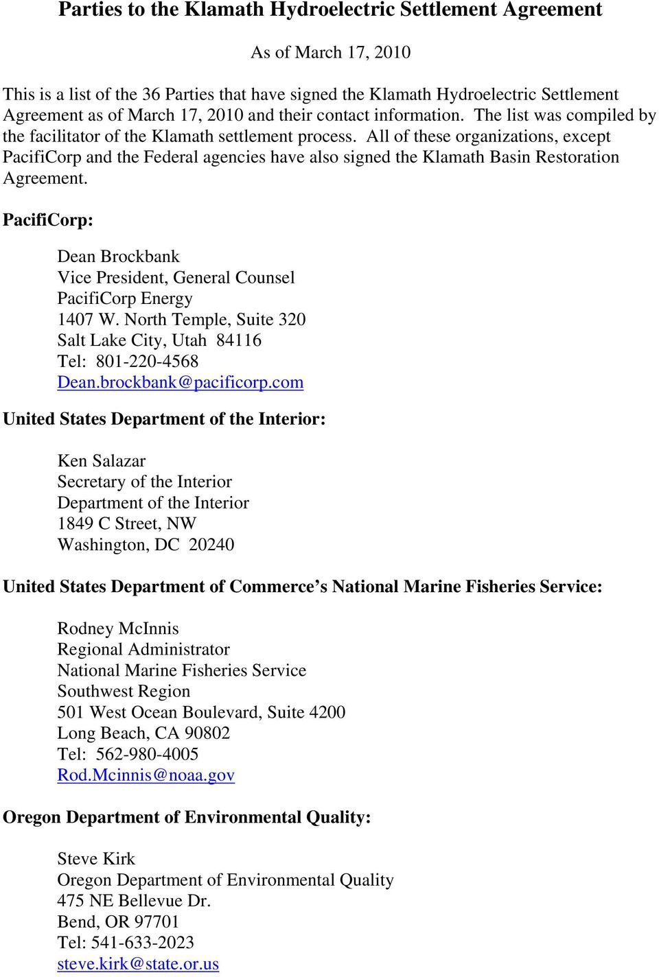 Parties To The Klamath Hydroelectric Settlement Agreement Pdf