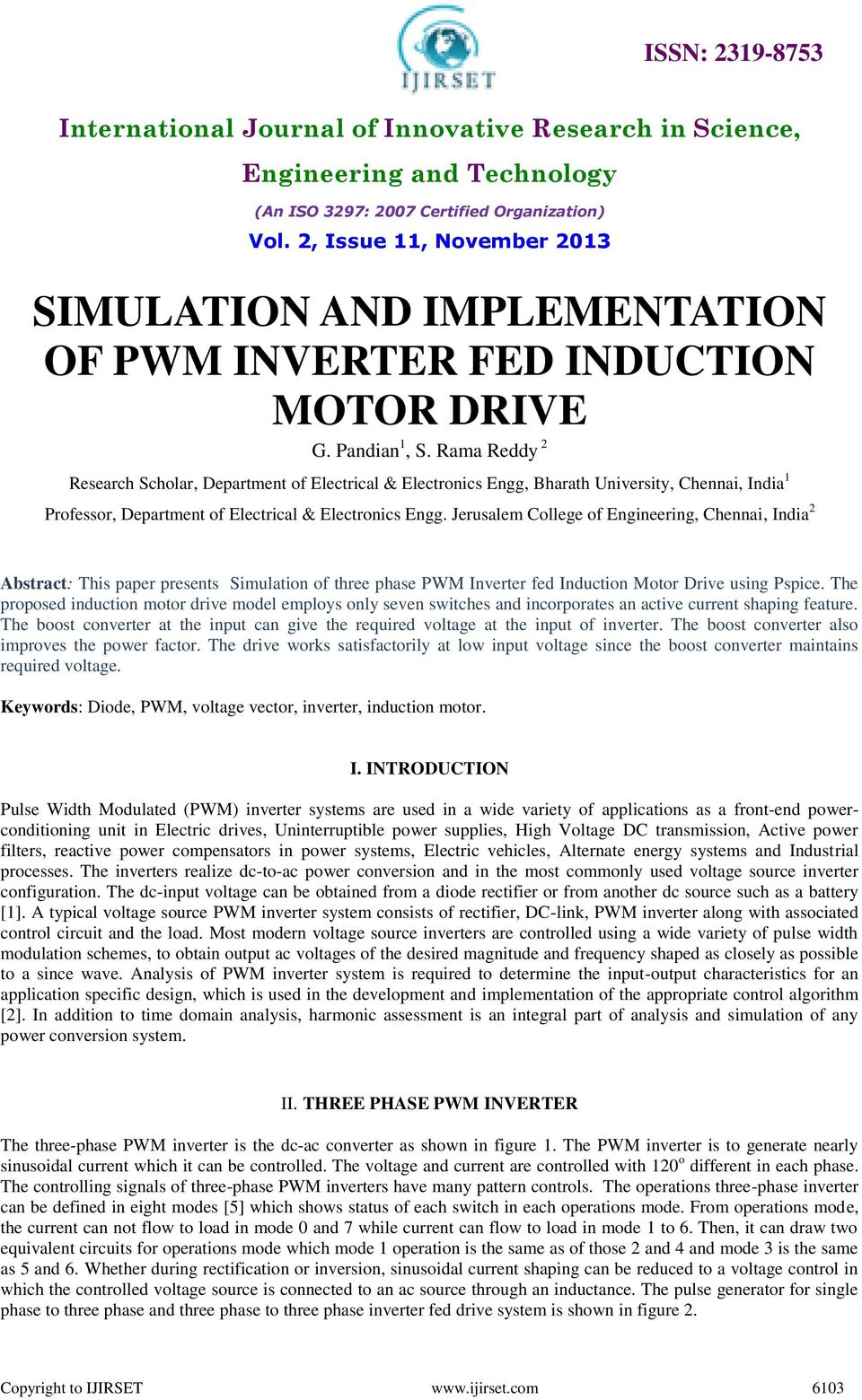 SIMULATION AND IMPLEMENTATION OF PWM INVERTER FED INDUCTION