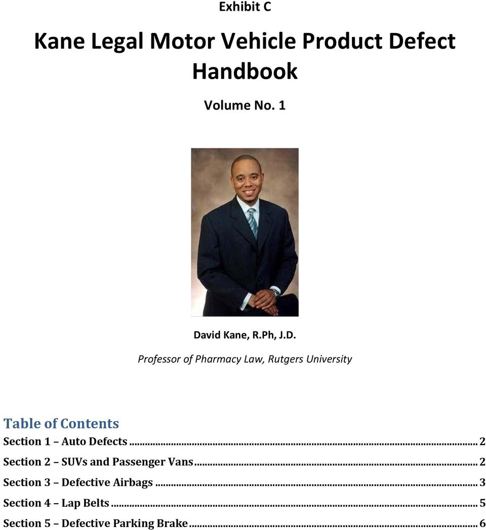 Contents Section 1 Auto Defects... 2 Section 2 SUVs and Passenger Vans.