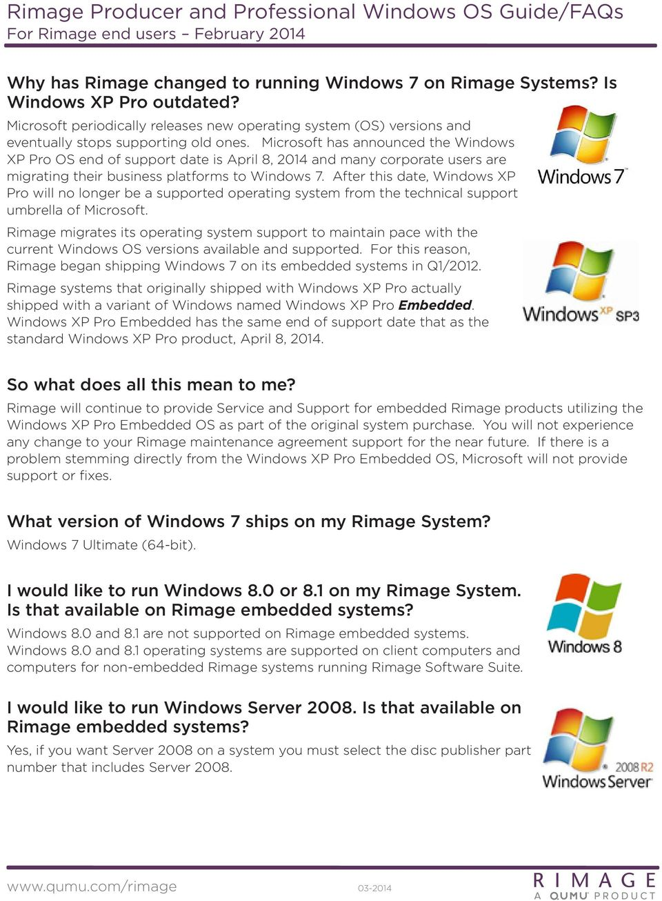 Rimage Producer and Professional Windows OS Guide/FAQs For