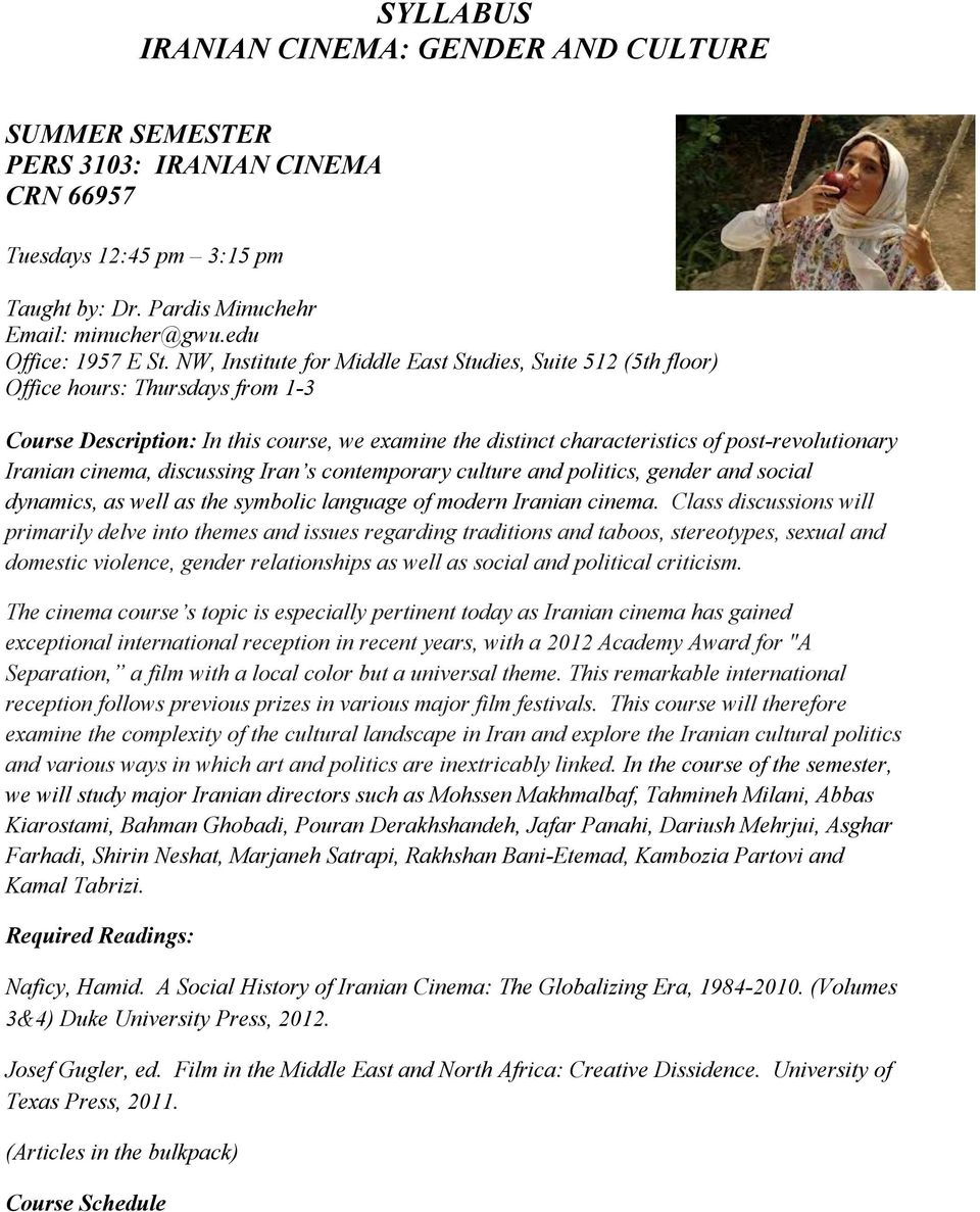 Syllabus Iranian Cinema Gender And Culture Pdf Free Download