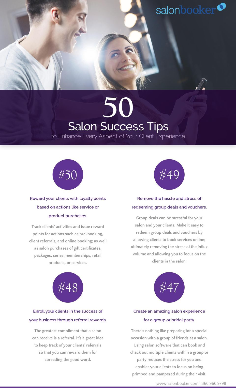 Make it easy to points for actions such as pre-booking, redeem group deals and vouchers by client referrals, and online booking; as well allowing clients to book services online; as salon purchases