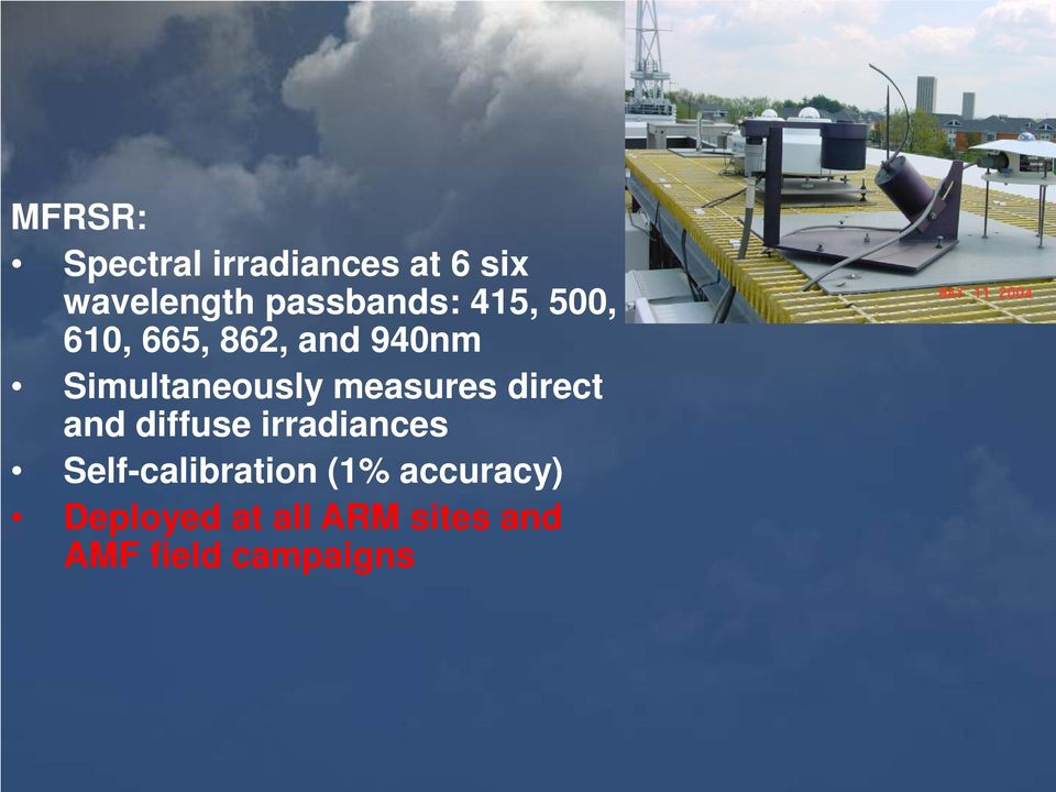 Simultaneously measures direct and diffuse irradiances