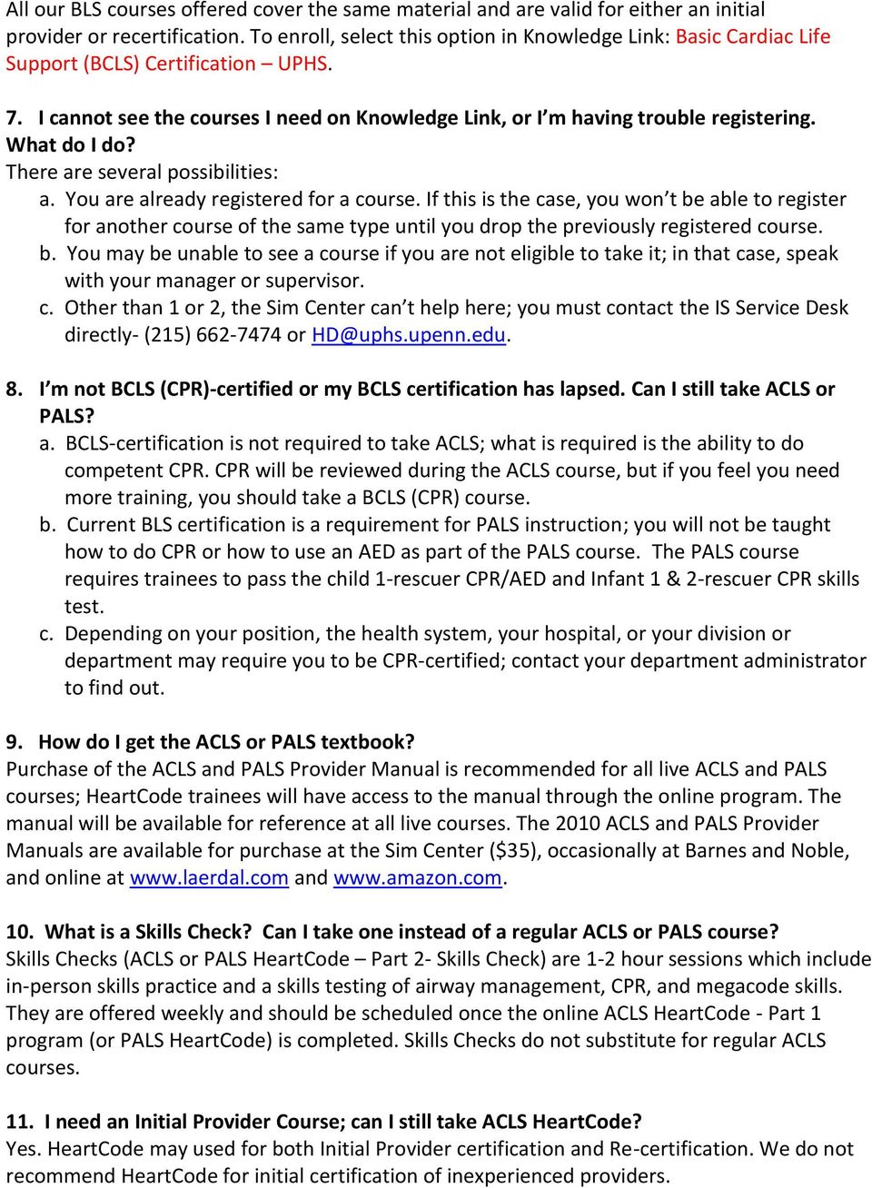 Acls Pals And Bls Bcls Cpr Faqs Pdf