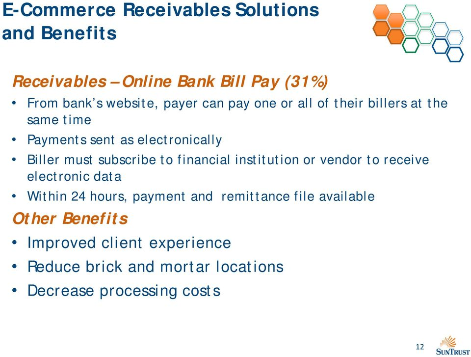 subscribe to financial institution or vendor to receive electronic data Within 24 hours, payment and