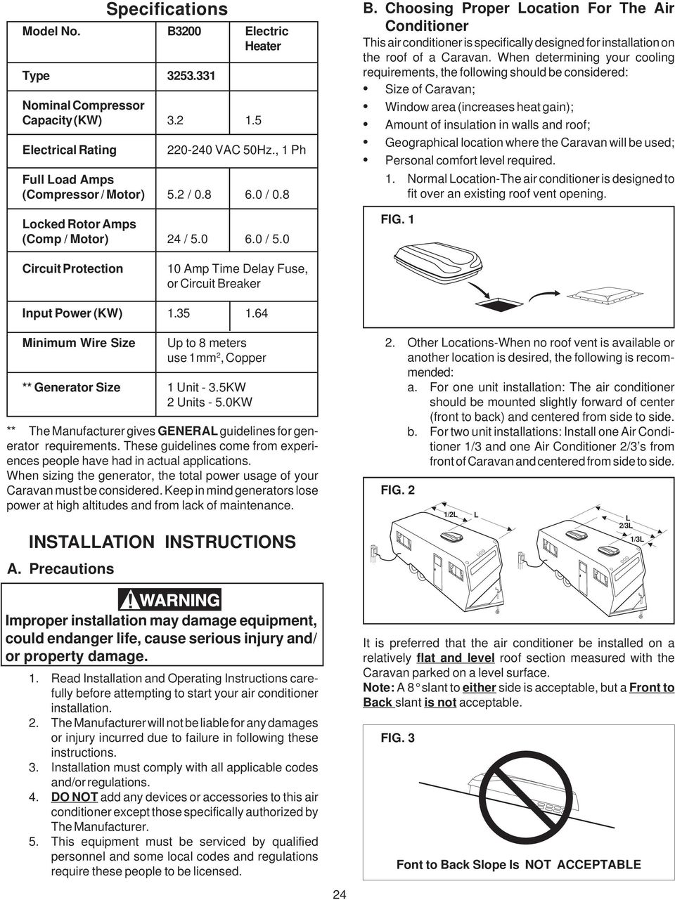 Model Roof Top Air Conditioner Caravan B3200 Type Through A Typical Electrical System Building Up The Wiring When Determining Your Cooling Requirements Following Should Be Considered Size Of