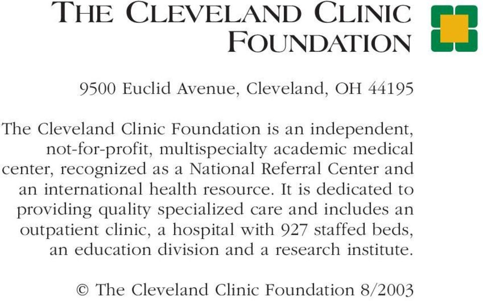 THE CLEVELAND CLINIC  personal  Health  Management  Program