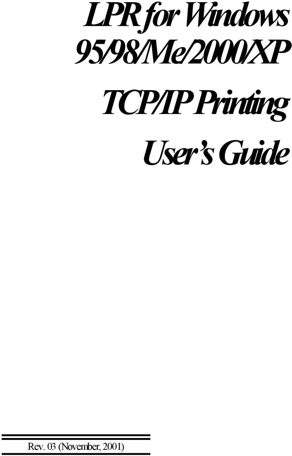 TCP/IP Printing User