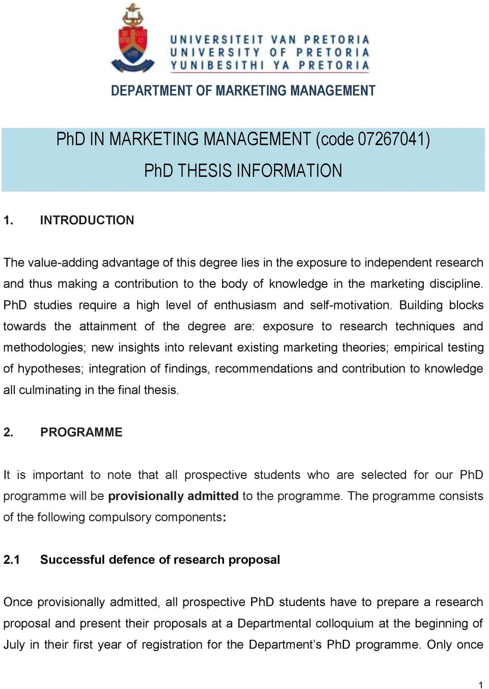Free download phd thesis in marketing management how do you write a format
