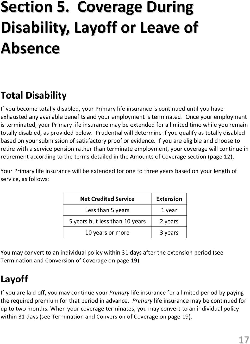 your employment is terminated. Once your employment is terminated, your Primary life insurance may be extended for a limited time while you remain totally disabled, as provided below.