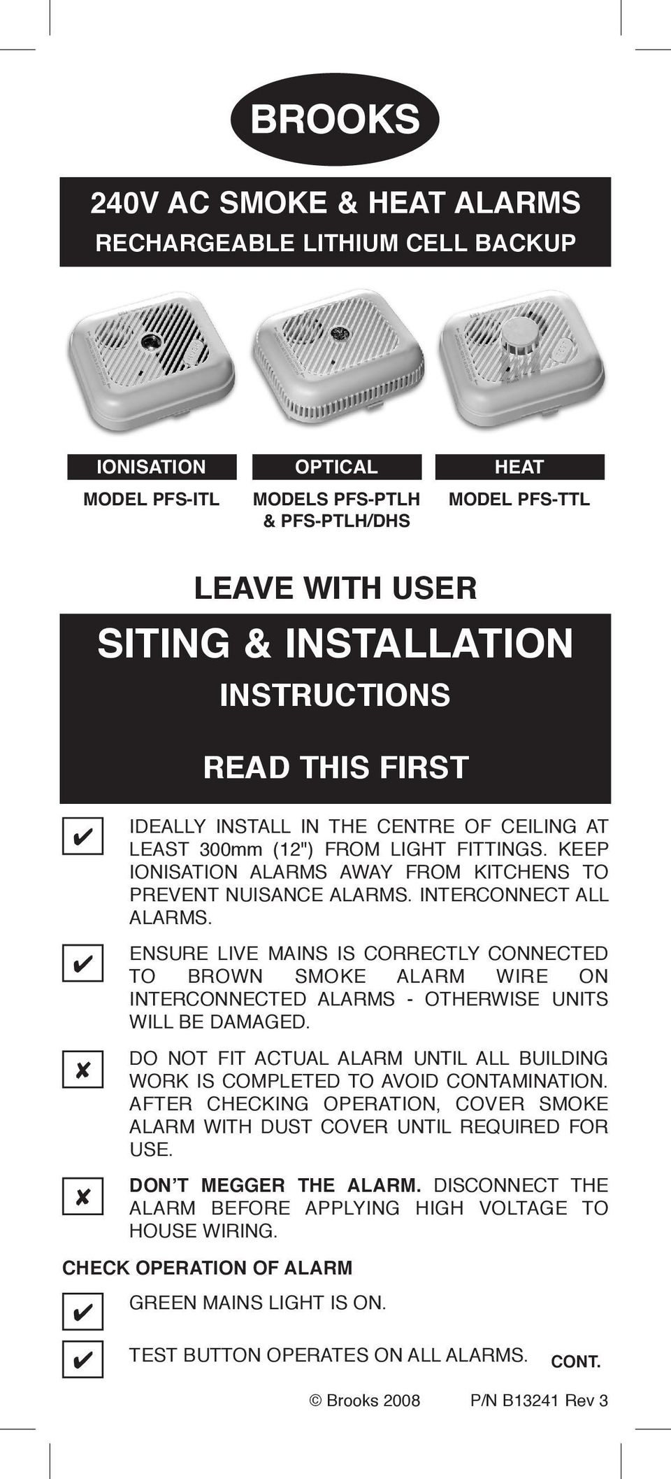 Read This First Cont Pdf House Wiring Smoke Alarms Ensure Live Mains Is Correctly Connected To Brown Alarm Wire On Interconnected Otherwise