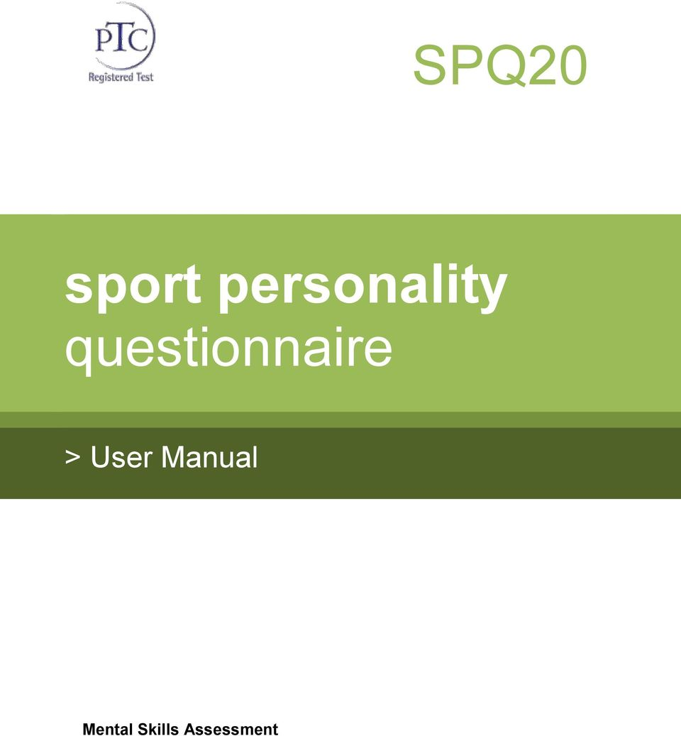 sport personality questionnaire - PDF