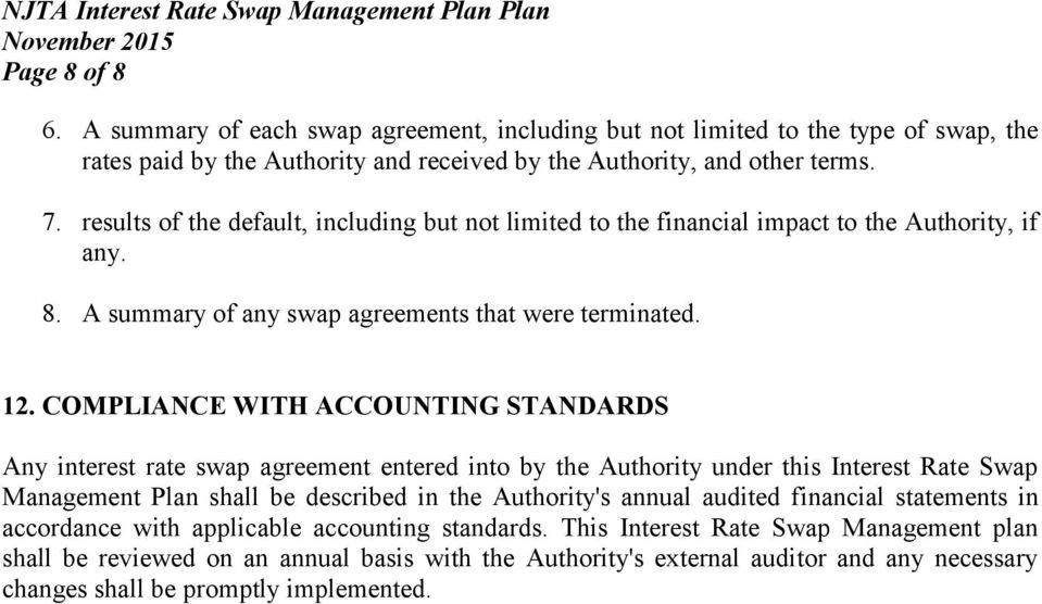 COMPLIANCE WITH ACCOUNTING STANDARDS Any interest rate swap agreement entered into by the Authority under this Interest Rate Swap Management Plan shall be described in the Authority's annual