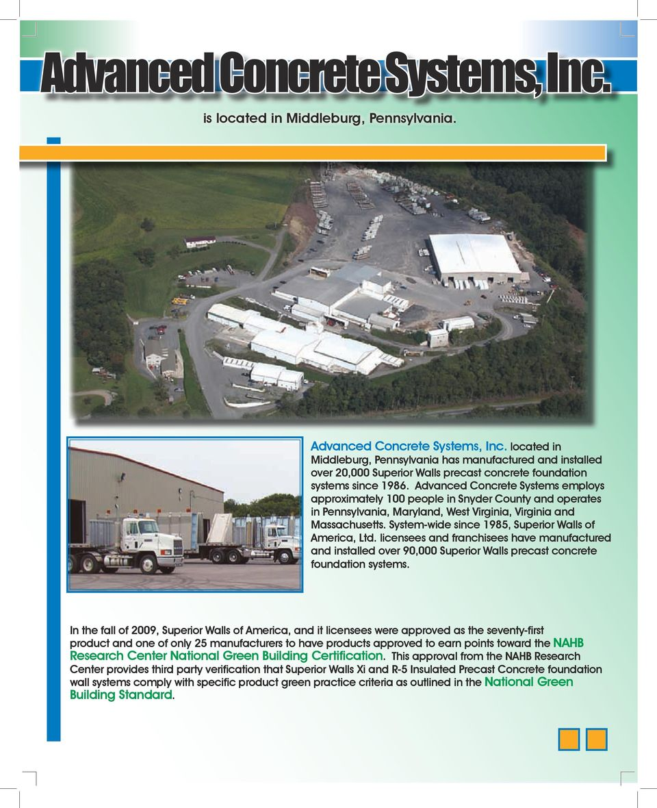 GREEN APPROVED  By Advanced Concrete Systems, Inc  Advanced
