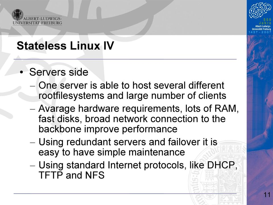 network connection to the backbone improve performance Using redundant servers and failover