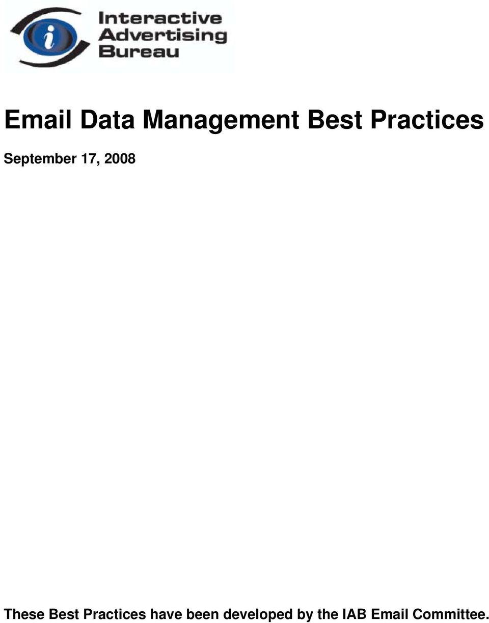 These Best Practices have been