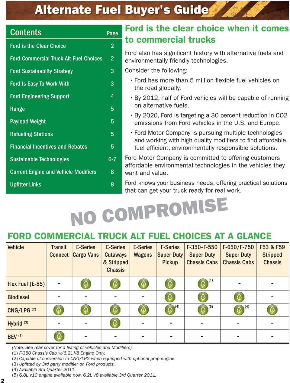 FORD COMMERCIAL TRUCK ALT FUEL CHOICES AT A GLANCE - PDF