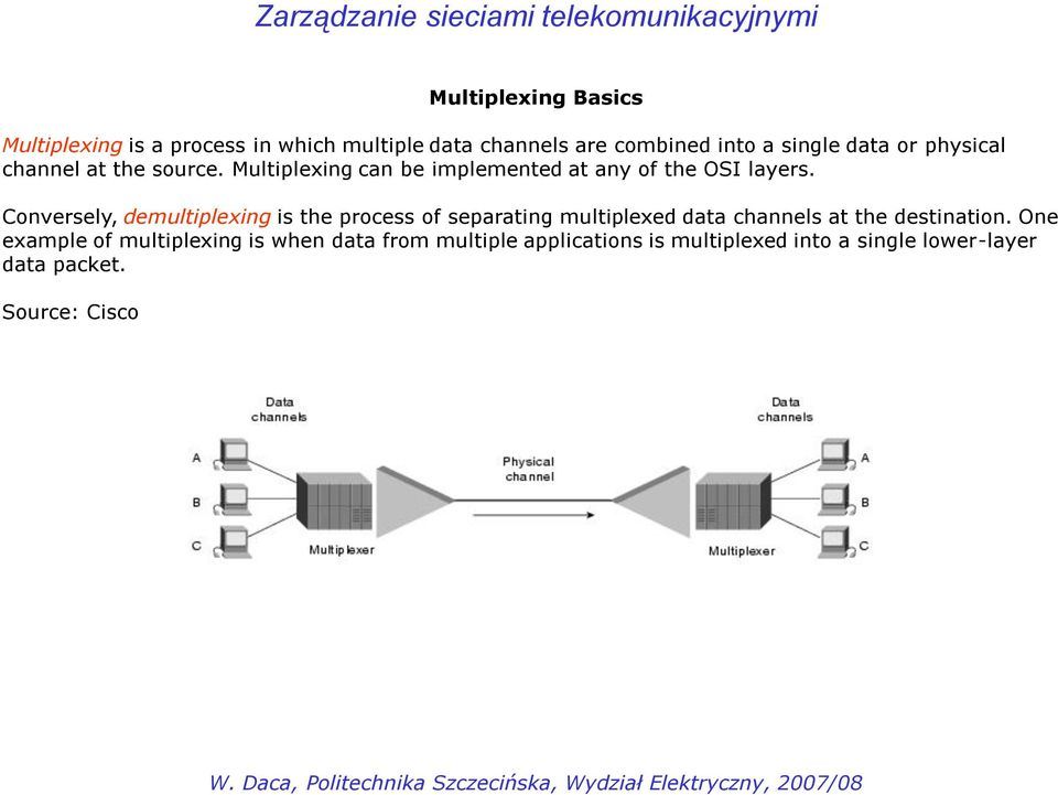 Conversely, demultiplexing is the process of separating multiplexed data channels at the destination.