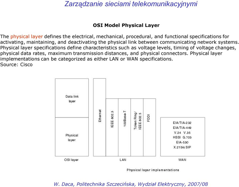 Physical layer specifications define characteristics such as voltage levels, timing of voltage changes, physical data