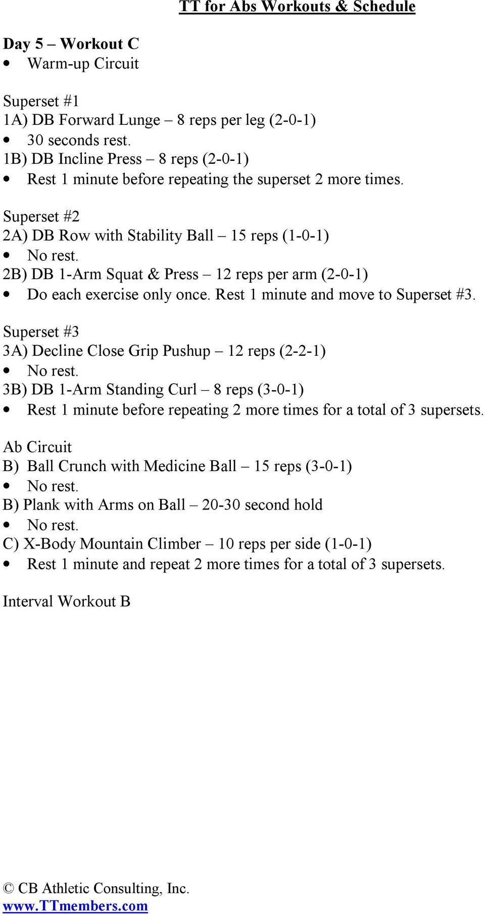 Cb Athletic Consulting Inc Pdf Supersets More Circuit Workouts Cardio Workout Gym 2b Db 1 Arm Squat Press 12 Reps Per 2 8 Day 6 Interval Training