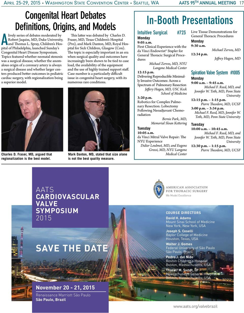 95 TH  C ourse co-chairs, Martin F  AATS DAILY NEWS  Cardiac
