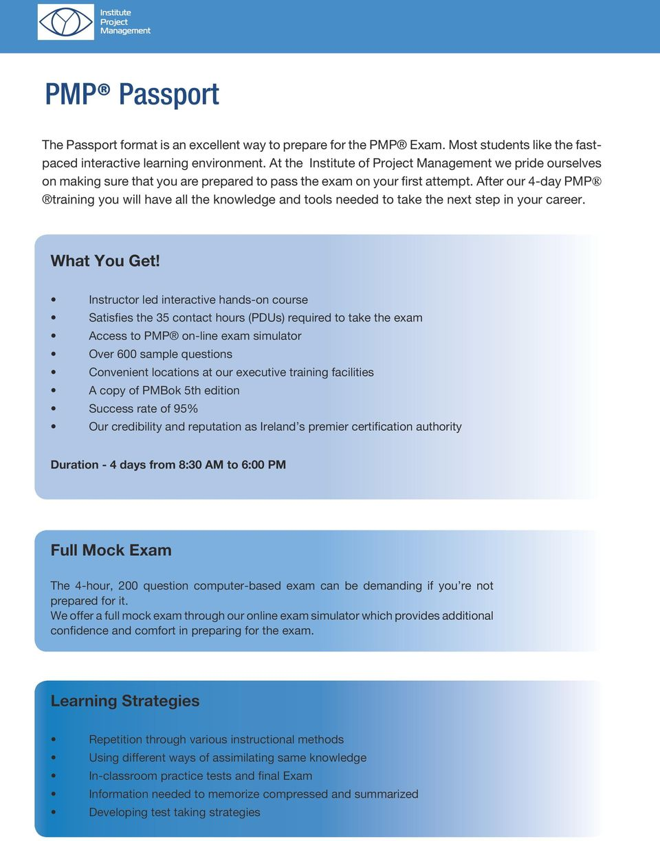 Pmp Passport Project Management Passport Ireland S Premier Project
