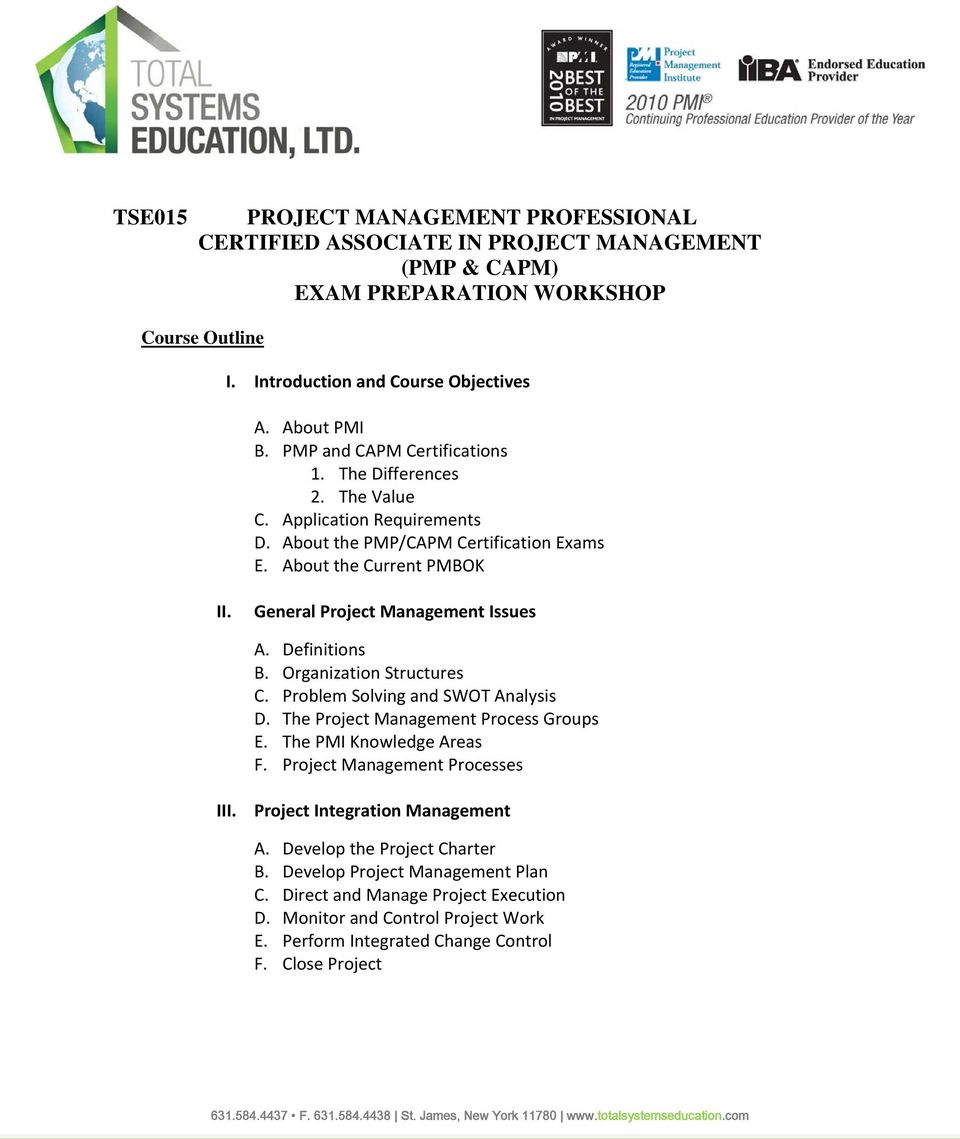 Project Management Professional Certified Associate In Project