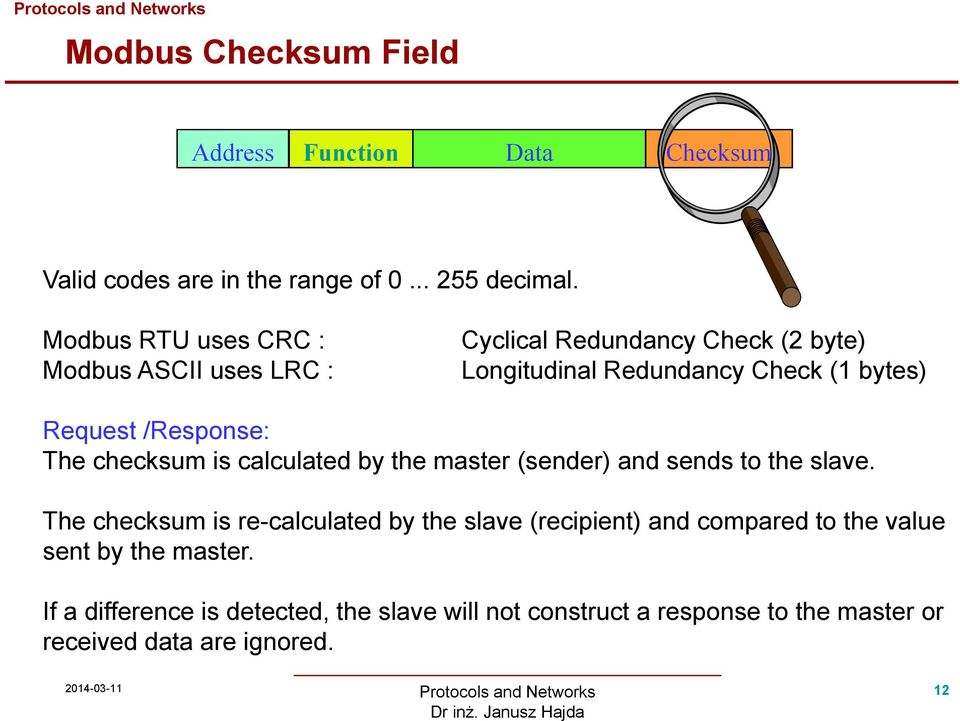 /Response: The checksum is calculated by the master (sender) and sends to the slave.