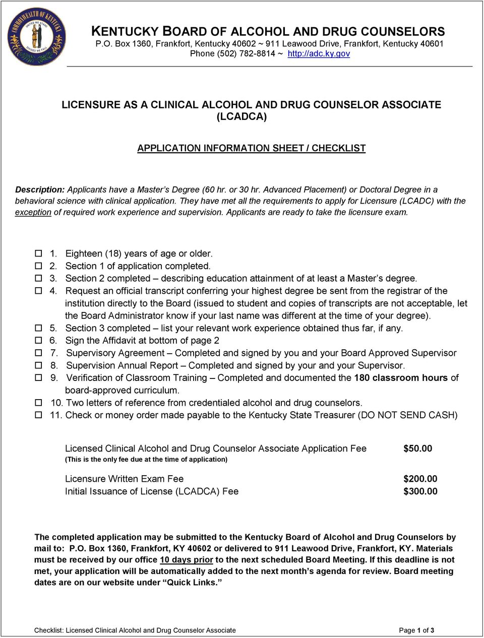 Licensure As A Clinical Alcohol And Drug Counselor Associate Lcadca