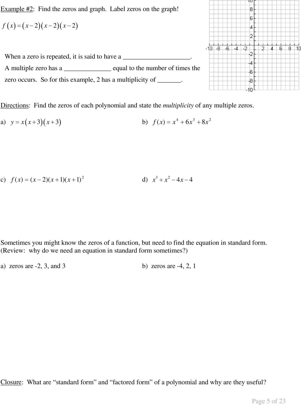 Unit 6 Polynomials 1 Polynomial Functions And End Behavior 2