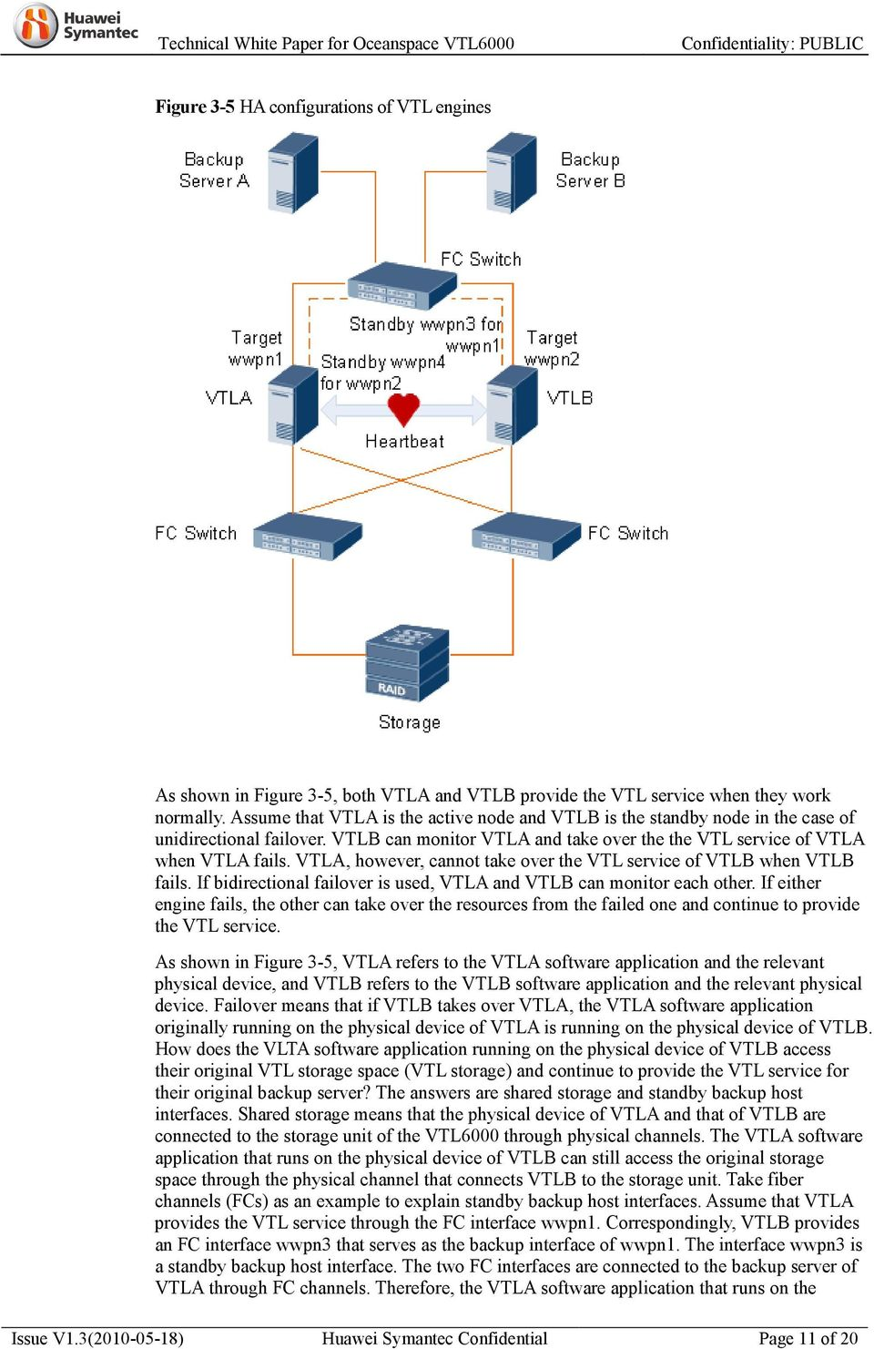 VTLA, however, cannot take over the VTL service of VTLB when VTLB fails. If bidirectional failover is used, VTLA and VTLB can monitor each other.