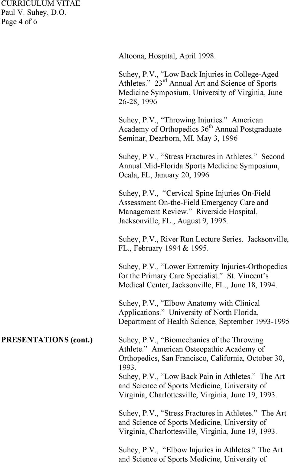 American Academy of Orthopedics 36 th Annual Postgraduate Seminar, Dearborn, MI, May 3, 1996 Suhey, P.V., Stress Fractures in Athletes.